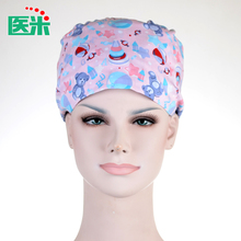 Adjustable Pure Cotton Printing Hospital Medical Caps Scrub Surgical Caps for Long Hair Doctor Nurse Beauty Salon Clinic Cap E76(China)