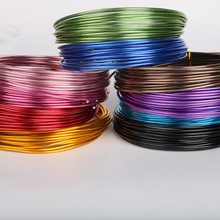 Wholesale 2mm 12 gauge length 5m anodized aluminum round wire dead soft DIY jewelry craft metallic beading wire 12 colors(China)