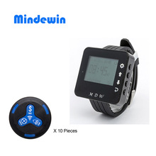 2017 Mindewin Wireless Calling System Service Calling M-K-3 Restaurant Guest Queue Pager System Call Button With Watch M-W-1
