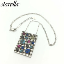 Starella 925 Sterling Silver Micro Pave CZ and Nano Turquoesa Turkey Style Square Pendant Necklace Collar Joyeria Gift(China)