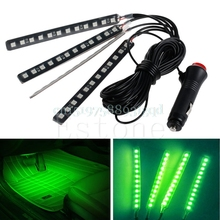 New Green 4x12LED Car Interior Light Atmosphere Decorative Light Neon Lamp Strip#T518#(China)