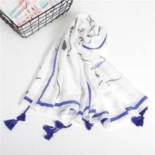 Guttavalli Women Fresh White Letters Print Park Long Tassels Shawl Blue Red Stripes Scarf Soft Retro Pastoral Geometric Scarves