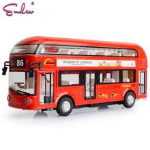 Endev Kids boys girls Toys London Double-decker Bus Alloy Sightseeing Bus Model Pull Back With Sound and Light Gift for Children(China)
