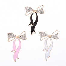 2017 50*76MM Newest Enamel Rhinestone Paved Ribbon Bows Button Patch Sticker Craft Fit Phone Case Garment Shoes Handbag Decor