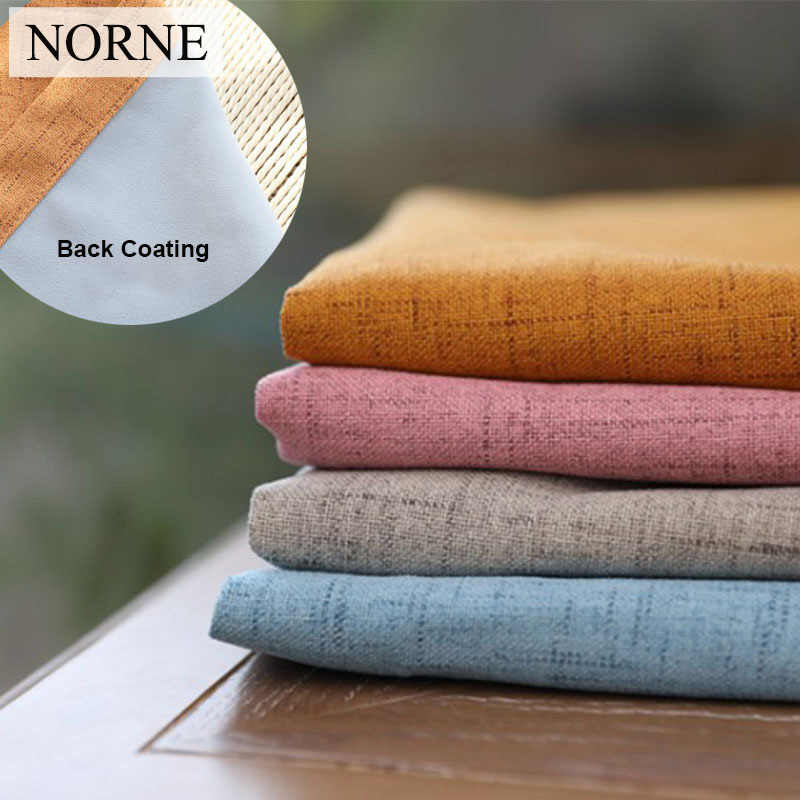 NORNE Faux Linen Home Decor Thermal Insulated Soundproof Blackout Curtain for Living Room Darpe Bedroom Back Coating Curtains