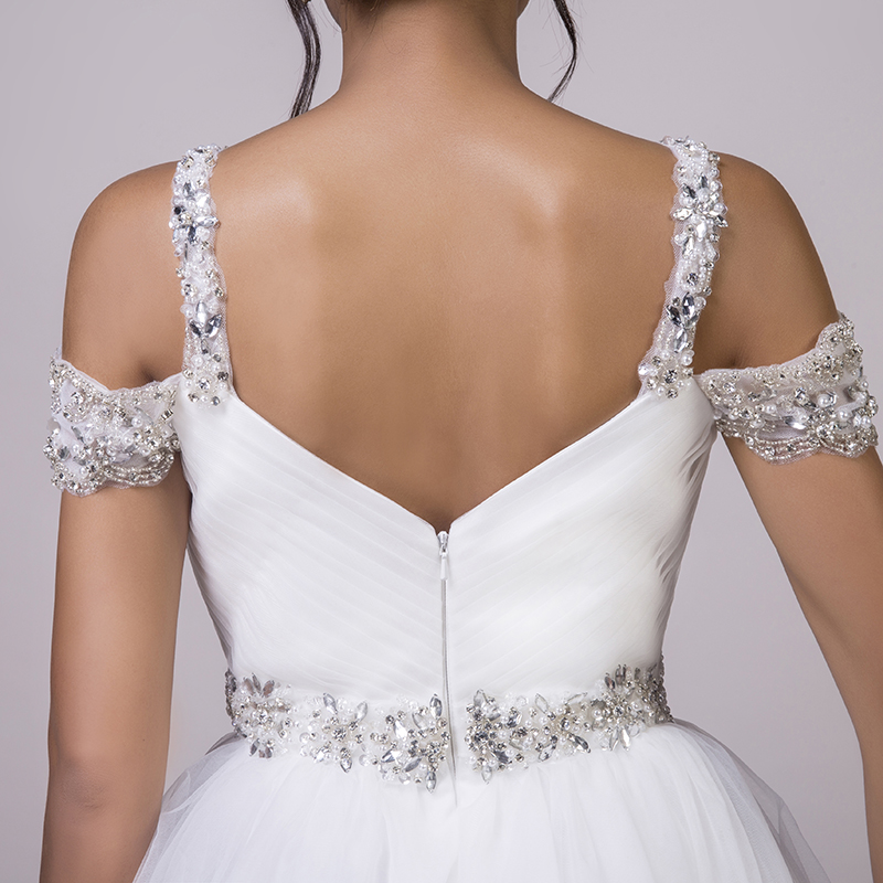 LORIE Beach Wedding Dresses Spaghetti Strap Beaded Sashes Princess Off the Shoulder Cheap Bridal Dress White wedding Gown 2018 7
