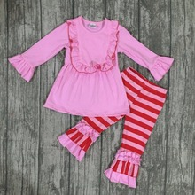 new arrival Valentine's day baby girls Spring outfit red pink striped top kids cotton ruffles long sleeve children clothes kids(China)