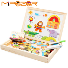 MIPOZOR Wooden Puzzles Forest Park Jungle Animal Multifunctional Magnetic Puzzle Drawing Board Educational Jigsaw Toys For Kids(China)