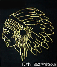 2pc/lot Indian head strass iron hot fix rhinestone transfer motifs iron on rhinestone patches for dress shirt