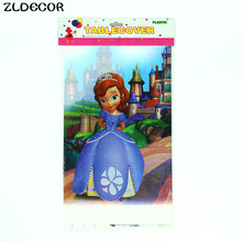 ZLDECOR 108cm Princess Sofia Plastic Tablecloth for Cartoon kids happy birthday party plastic tablecover supplies disposable