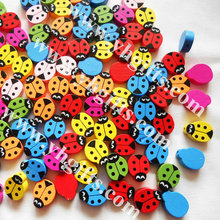 500Gram/700PCS/LOT.Wood ladybug beads,Lacing bead.Easter decoration.Craft material.Handmade bracelet,1.5x2cm.Freeshipping.
