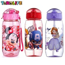 2017 New Kids Drinking Cartoon Water Bottles BPA Free Cartoon Plastic Straw Bottle Children Bottle Children Kettle Sports Bottle