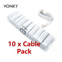Vonky 10 pcs / lot 8Pin For Lightning USB Data Sync Charging Cable for iPhone 7 6 6s plus 5 5s 5G iPod Touch Cable w iOS 10 9.3