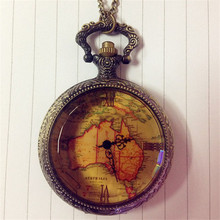 Christmas Gift Retro Chain AU Map Necklace Pendant Pocket Watch Vintage Necklace Chain Jewelry Fob Pocket Watches For Women Men