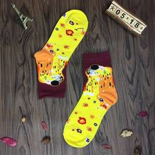 Hot Sale Oil Painting Cotton Funny Sock Yellow Male Female Van Gogh Retro Short Ankle Socks Women Meias