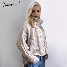Simplee Turtleneck knitted pullover sweater Women hollow out soft jumper pull femme Autumn winter 2017 warm knitting sweater(China)