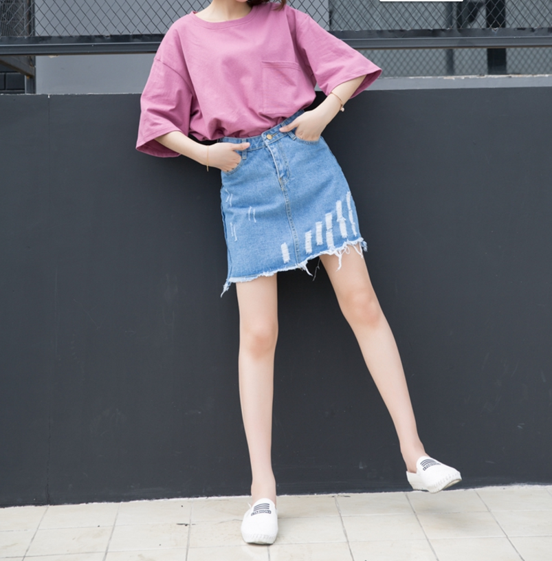 Retro Style High Waist Denim Skirts Women Jupe Summer Hole Short A-Line Jeans Skirt Female Casual Saias Fashion Faldas Plus Size