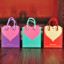 Free Shipping 20 X Creative Red/Purple/Blue Heart Paper Bag Candy Box Wedding Party Favor Gift Box Chocolate Box