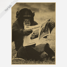 Monkey reading newspaper Vintage bar cafe Decoration Kraft Paper Poster Retro shop Wall Sticker Old Painting 30x42cm ZJP-M032