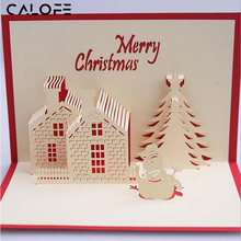 CALOFE Customizable New YearCreative 3D Stereoscopic Christmas Greeting Card Christmas Decorative House Blessing Card Accessorie(China)