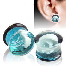 Alisouy 2PCS Glass Plugs and Tunnels 8-16mm Blue Translucent Earring Gaugs White Jellyfish Logo Ear Plug Tunnel Stretchers
