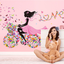 Brand 2017 Fairies Girl Butterfly Flowers Wall Stickers Bedroom Wall Sticker Decals Home Decoration Wallpaper Living Mural Art