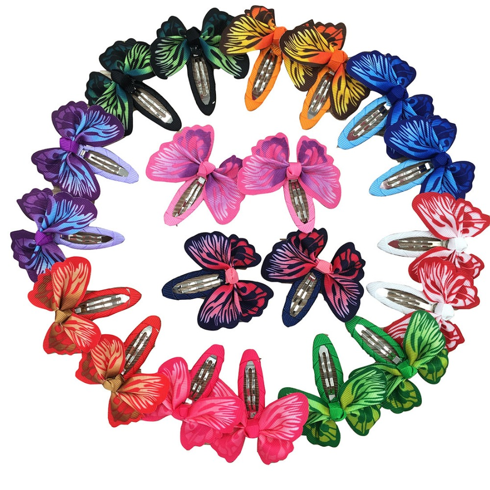 20pcs Butterfly Printed Hair Ribbon Bows Hair Clip Bows Kids Girls Bobby Pin Children Hair Pins for Girls Hair Accessories(China)