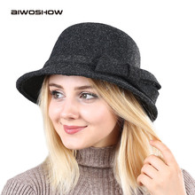 AIWOSHOW 2017 Retro Fedoras Bowler Hats Top Jazz Hat For Women Vintage Hat Winter Autumn Cap Cotton Imitation Woolen Round Caps(China)