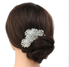 new wedding bridesmaid Fangzuan fall flower ribbon hair jewelry comb the crown jewels for the bride wholesale