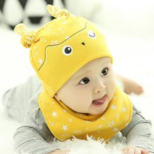 Baby Boys Girls Patchwork Pattern Soft Cotton Hedging Hat Cap+Triangle Bibs Saliva Towel