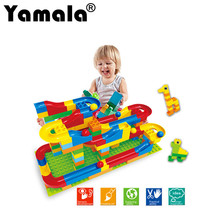 [Yamala]Rolling Ball Rail Building Blocks Enlighten Bricks Trajectory Learning Education Toy For Kids Compatible Legoingly Duplo