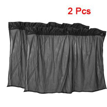 TOYL 2 Pcs Suction Cup Black Mesh Window Curtains Car Sun Shade 80 cm x 51 cm(China)