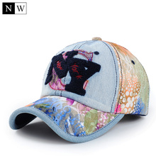 2017 Fashion Women Baseball Cap Brand NY Letter Casquette NY Denim Lace Design Bones Snapback NY Hats For Women Adjustable Size