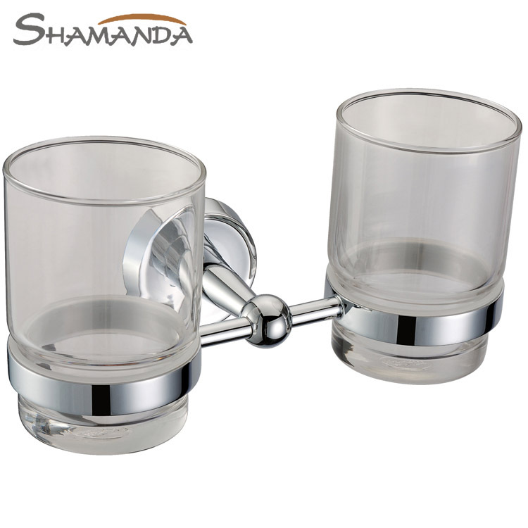 Free Shipping Solid Brass Chrome Finished Bathroom Accessories Products Double Cup Holder,Toothbrush Holder,Glass Holder 50004<br>
