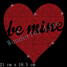 Free shipping Red Heart Be Mine Diamante Motif rhinestones transfer