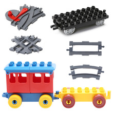 Bulk Railway Cross Train Track Big Building Blocks Compatible with Duplo Classic car Accessories Sets Bricks Parts DIY Baby Toys(China)