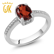 Amazing USA Gemstoneking 1.21 Ct Oval Red Garnet White Diamond 925 Sterling Silver Ring Natural Women Fashion Jewellery(China)