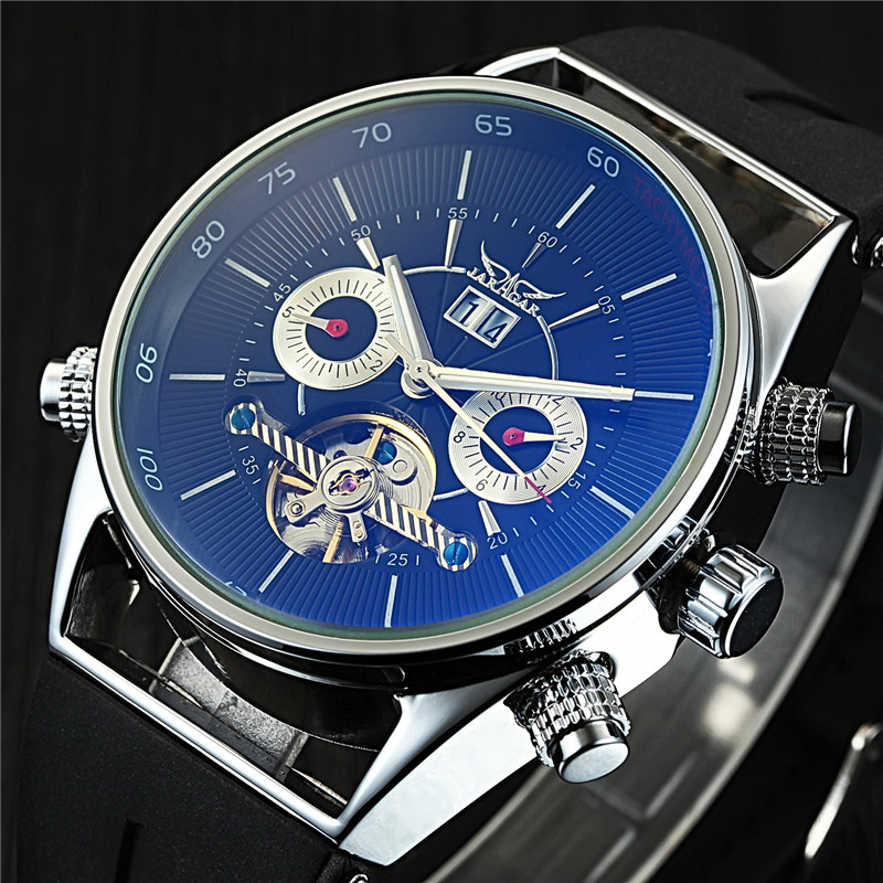 Jaragar Mens Watches Top Brand Luxury Automatic Fashion Sport Watch Shark Lines Design Rubber Band Tourbillion Display Calendar<br>