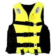 New (S-XXXL) yellow Sizes Polyester Adult Life Jacket Universal Swimming Boating Ski Drifting Foam Vest with Whistle Prevention