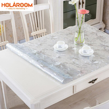 Floral Dot soft glass tablecloth color PVC crystal plate dining table pad mat desktop polychrome printing waterproof Tablecloth(China)
