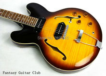 New style Custom shop ES 335 50th Anniversary 1963 hollow jazz Guitar Double tiger maple top and back,Vintage Sunburst color