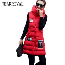 2017 New Women Spring Vest Autumn Fashion Cotton Padded Hooded Sleeveless Down Coat Zipper Pockets Warm Waistcoat Thicken Vest