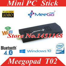 Meegopad T02 mini pc stick windows 10 Win 8.1 Mini PC TV stick Quad-Core Intel Atom Z3735F HDMI TV Box Player Compute stick(China)
