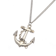 1pcs Fashion Antique Bronze Silver Ferry Anchor Pendant Charms Chain Necklace Jewelry Women gift 60cm Ne191