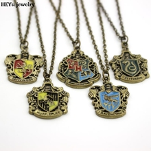 Movie Jewelry Hogwarts Gryffindor Hufflepuff Free Shipping Slytherin Ravenclaw School Hot Sale Crest Necklace & Pendants Jewelry(China)