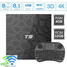 2018 T9 tv box android 8,1 WI-FI 4G B 6 4G B tv box Bluetooth 4,0 RK3328 4 ядра 4G 32 г Smart tv box Set Top android 8,1 коробка 5 г(China)