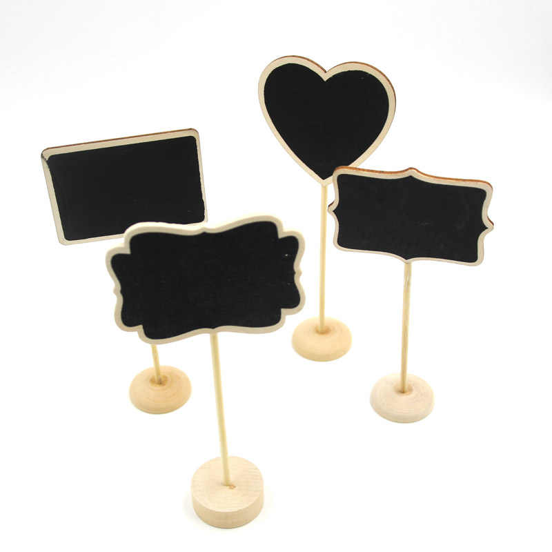 5PCS/lot Four Models Optional Vintage Mini Wood Blackboard Wooden Place Card Holder Table Number For Wedding Party Decoration