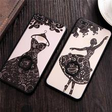 New Arrival Romantic Painting Wedding Dress With Holder For Iphone 6 6S Plus 7 7 Plus Soft TPU Anti Shock Mobile Phone Case