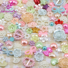 Lucia crafts 20g/lot 2-14mm Random Mixed Half Round Pearls Flatback Scrapbook Beads DIY Nail Garment Bags Accessories 005008031