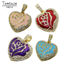 Diamond Crystal Heart USB Flash Drive USB 2.0 Memory Stick PenDrive 8GB 16GB 32GB Mini Luxury Necklace PenDrives USB Drive(China)